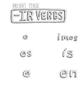 Free spanish present tense ir verb conjugation chart no prep verbs also rh pinterest