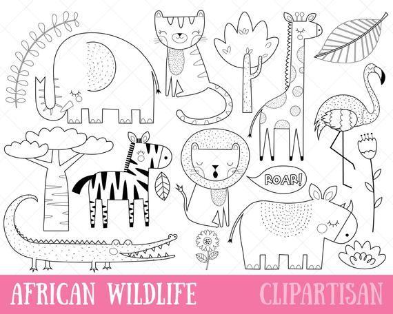 Afrikanische Tiere digitalen Stempel  Safaritiere  Wildtiere | Etsy