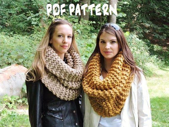 Knitting Scarf Patterns Infinity Scarf : Knitting pattern the strasburg scarf chunky knit cowl huge