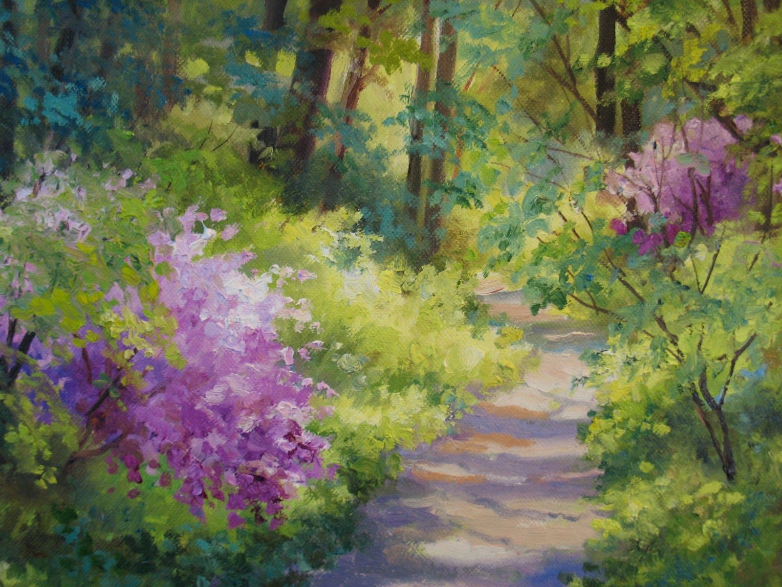 Nels Everyday Painting Maries Spring Woods Detail Jpg 1600 1200 Landscape Paintings Painting Spring Landscape