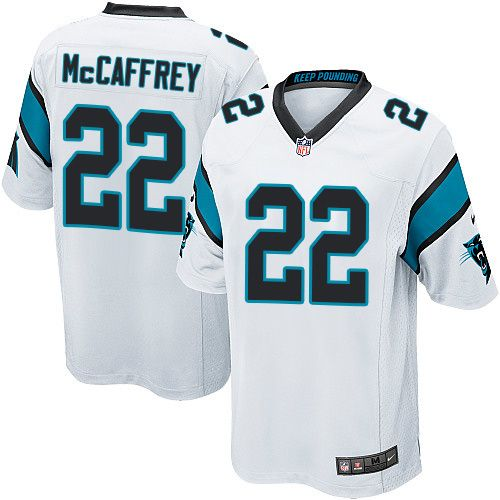 78dd0710c Nike Carolina Panthers Youth  22 Christian McCaffrey Game White Road NFL  Jersey