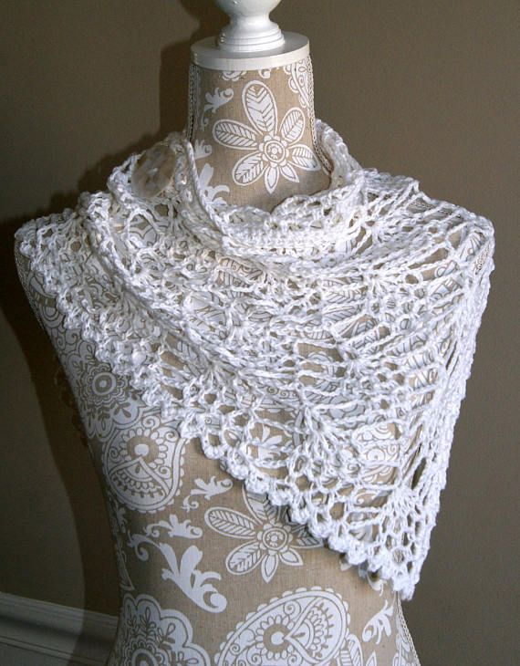 Small Neck Wrap, Bandana Style Cowl, Hand Crocheted Scarf, Cotton ...