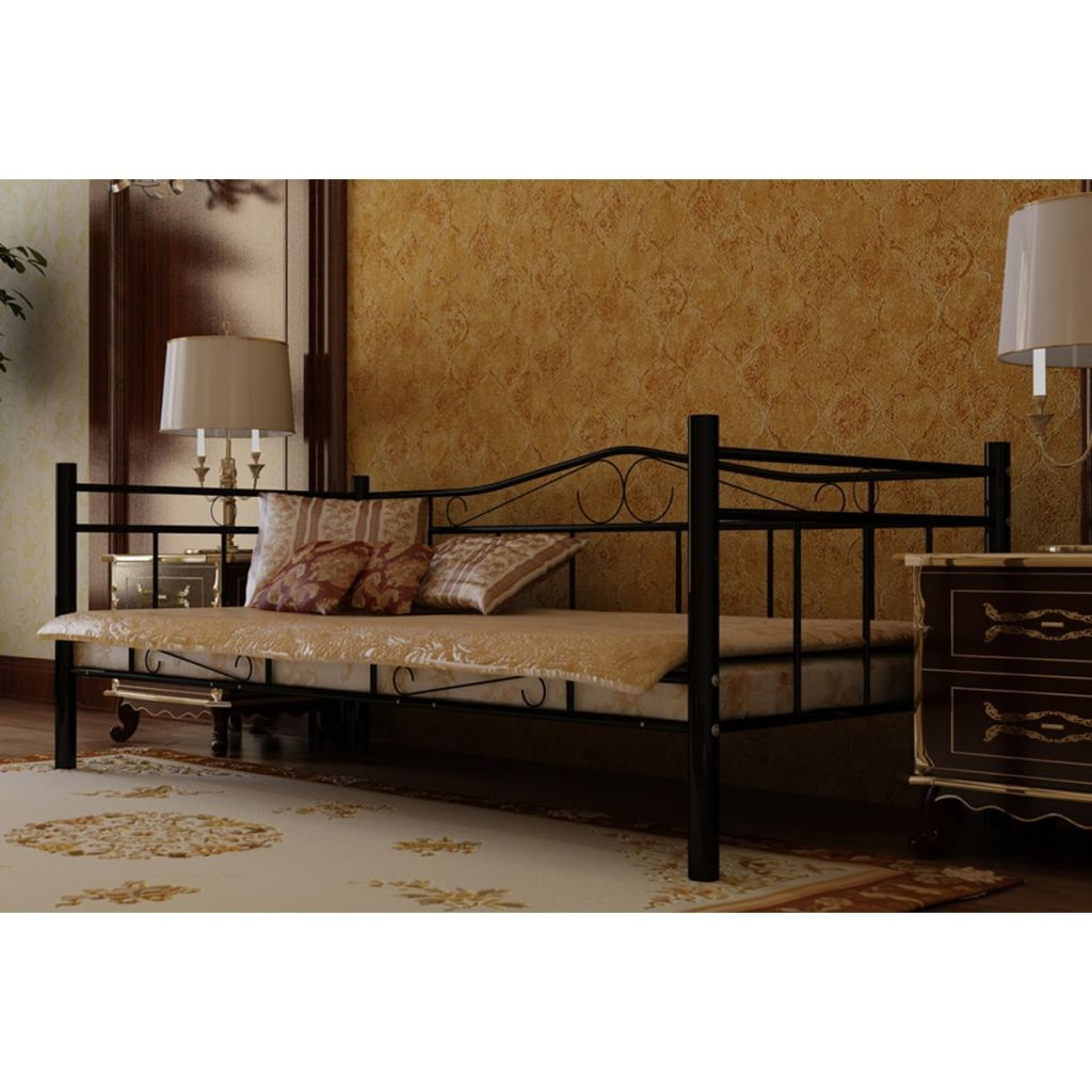 Cama individual de metal negro con colchón incl. 90 x 200 cm ...