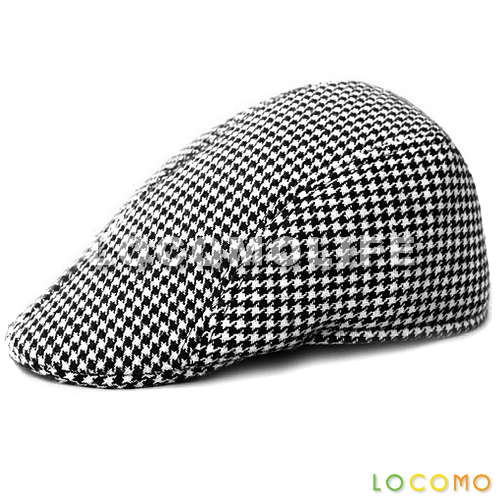 6f514c1bb9 Men Women Retro Houndstooth Check Checker Flat Cap Hat Black ...