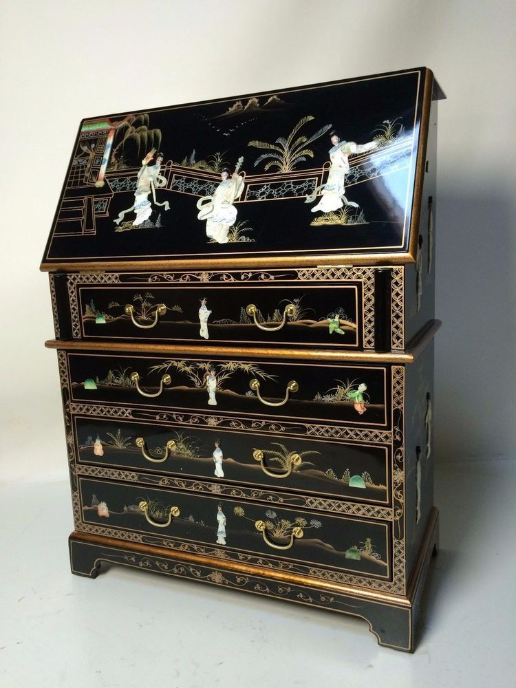 Oriental Furniture Chinese Black Lacquer Deck With Chair Mother Of Pearl Asian