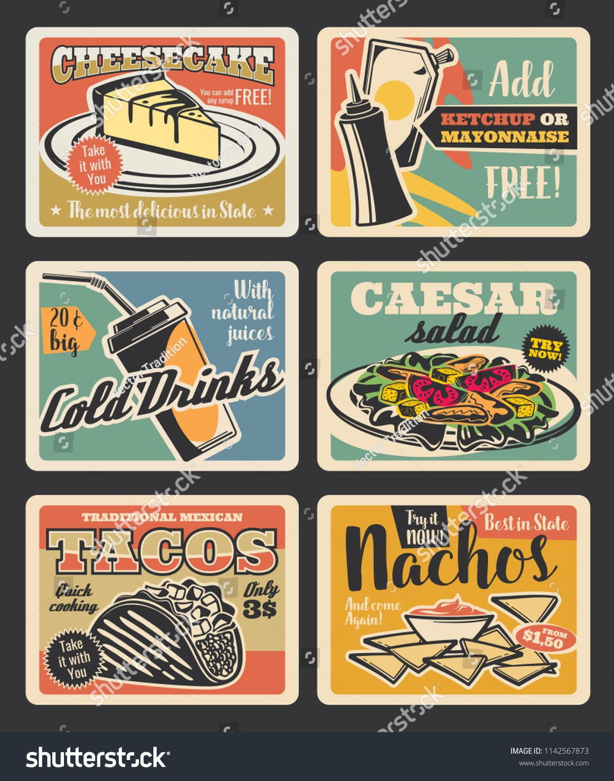 Fast Food Retro Cards Of American And Mexican Restaurant Lunch With Snack Drink And Dessert Meat Taco Food Poster Design Vintage Poster Design Cafe Posters