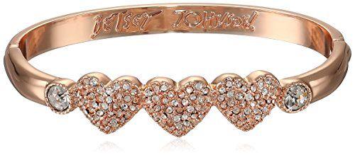 Betsey Johnson Pave Heart Rose Hinged Bangle Bracelet - http://www.sparklingheaven.com/betsey-johnson-jewelry/betsey-johnson-pave-heart-rose-hinged-bangle-bracelet/ - Betsey Johnson