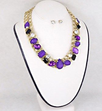 Purple Stones Fashion Necklace