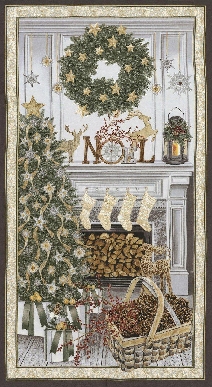 White Christmas Fabric Panel / Christmas Tree & Noel Panel ... : christmas quilting panels - Adamdwight.com