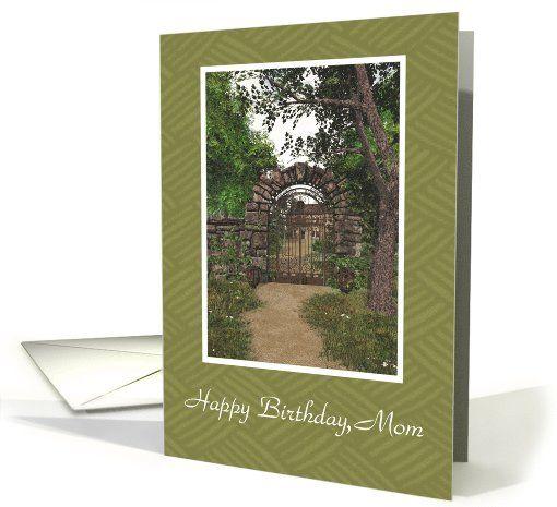 Garden Gate Happy Birthday Mom Card