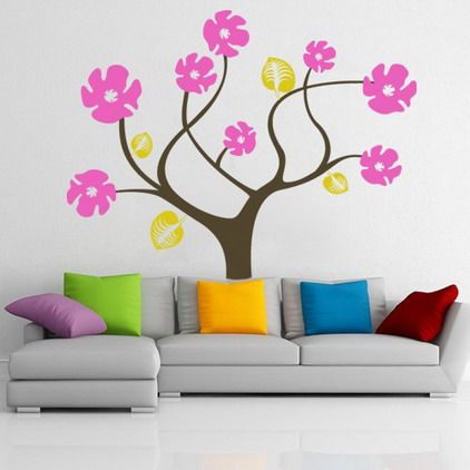 Colorful Abstract Tree Flowers Wall Stickers Decals For Modern Living Room Paint Decorating Designs Ideas Cool