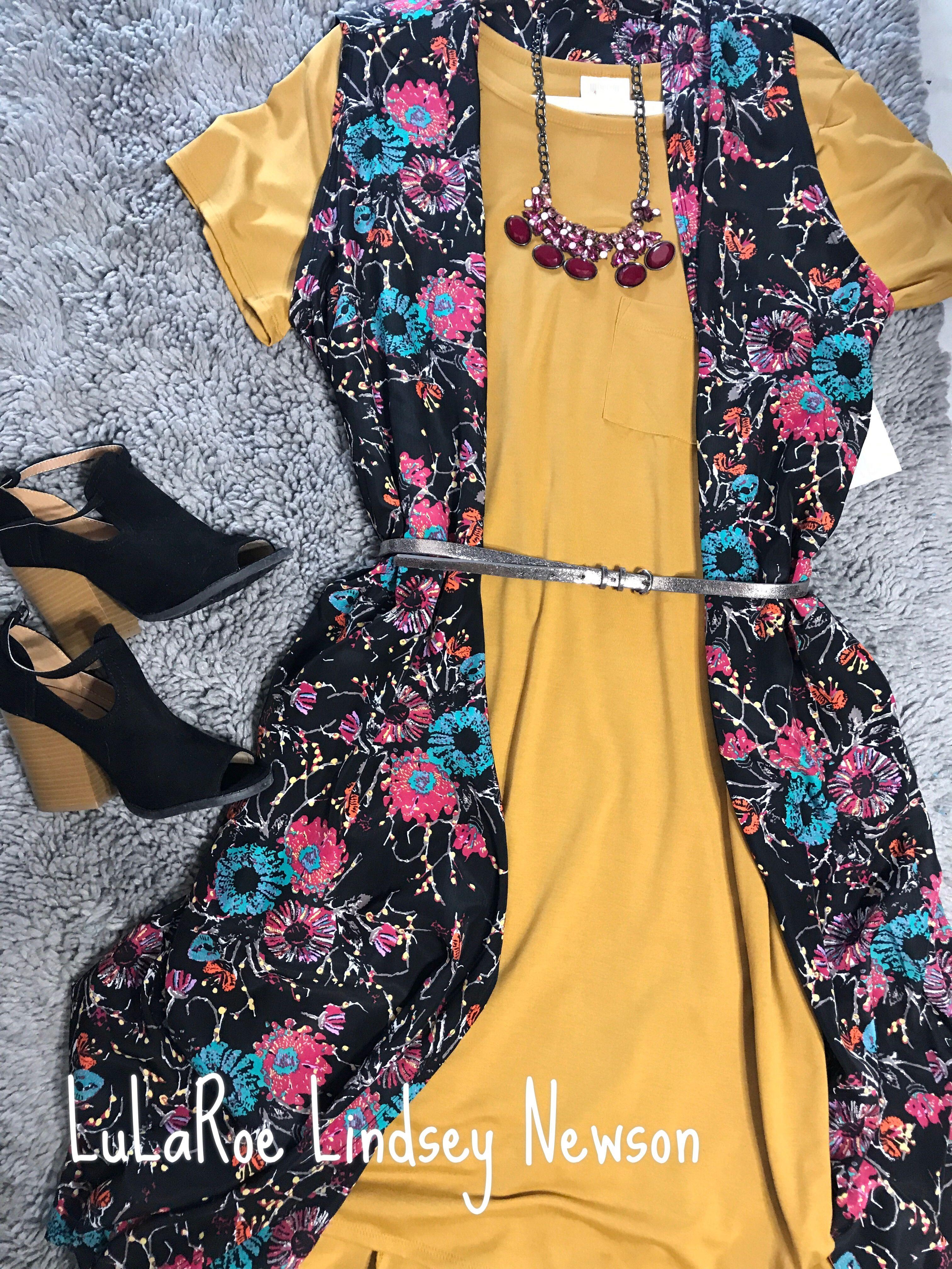 fdfd9986 LuLaRoe Carly Swing Dress. LuLaRoe Joy Vest. Mustard. Swing Dress. Florals.  Vest Cardigan.