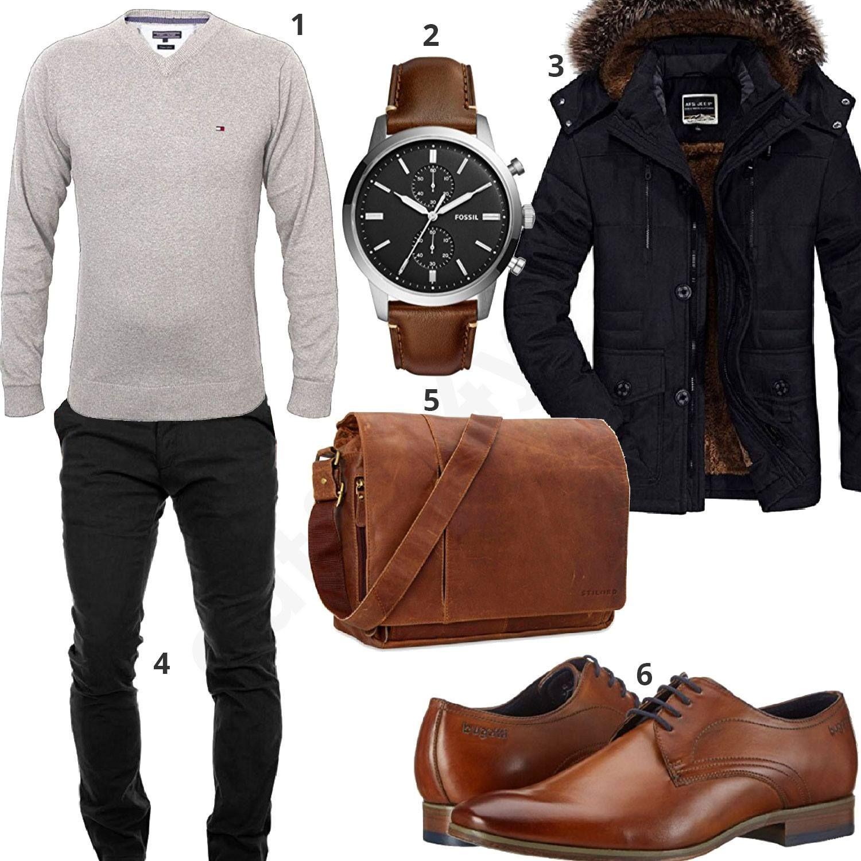 a4d4cee73dff Outfit mit Ledertasche, Parka und Chino (m0723). Studenten-Outfit für  Männer mit grauem Tommy Hilfiger Pullover ...