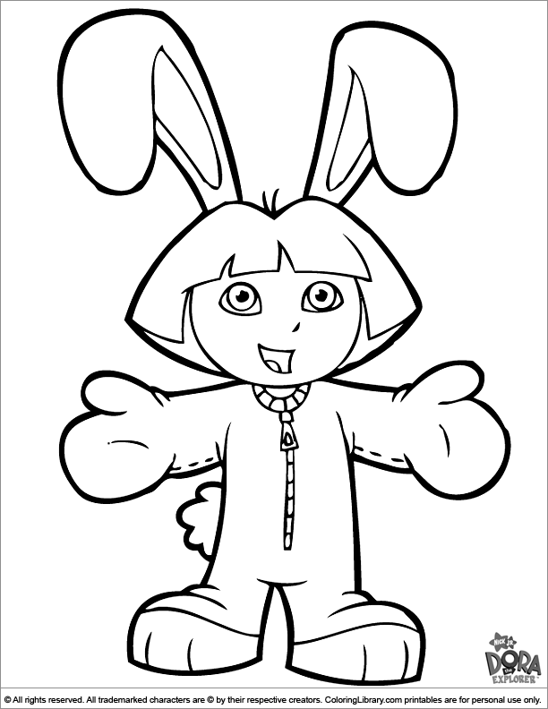 Dora The Explorer Coloring Page Dora In A Bunny Suit Dora Coloring Bunny Coloring Pages Easter Coloring Pages