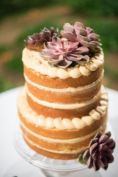 Outdoor Destination Wedding in Puerto Rico Two Tiered Naked Wedding Cake | Brides.com