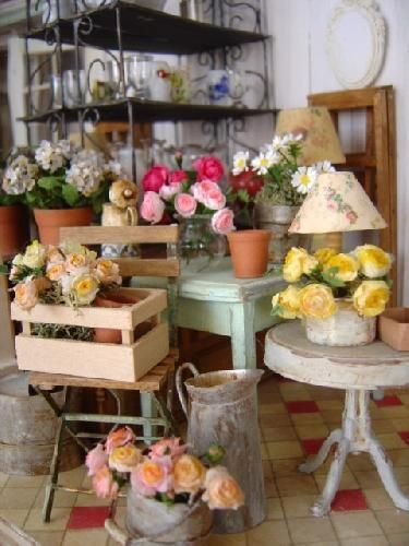 Miniature florist\'s shop | Garden Dioramas | Pinterest | Magasin ...