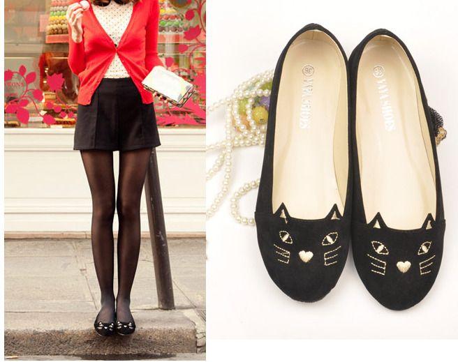 b8c0c8401c7 Fashion Girls Women s Cute Cat Comfort Ballet Flats Loafers Low Heel Shoes