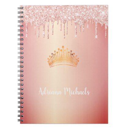 Tiara princess rose gold glitter name notebook | Zazzle.com #goldglitterbackground