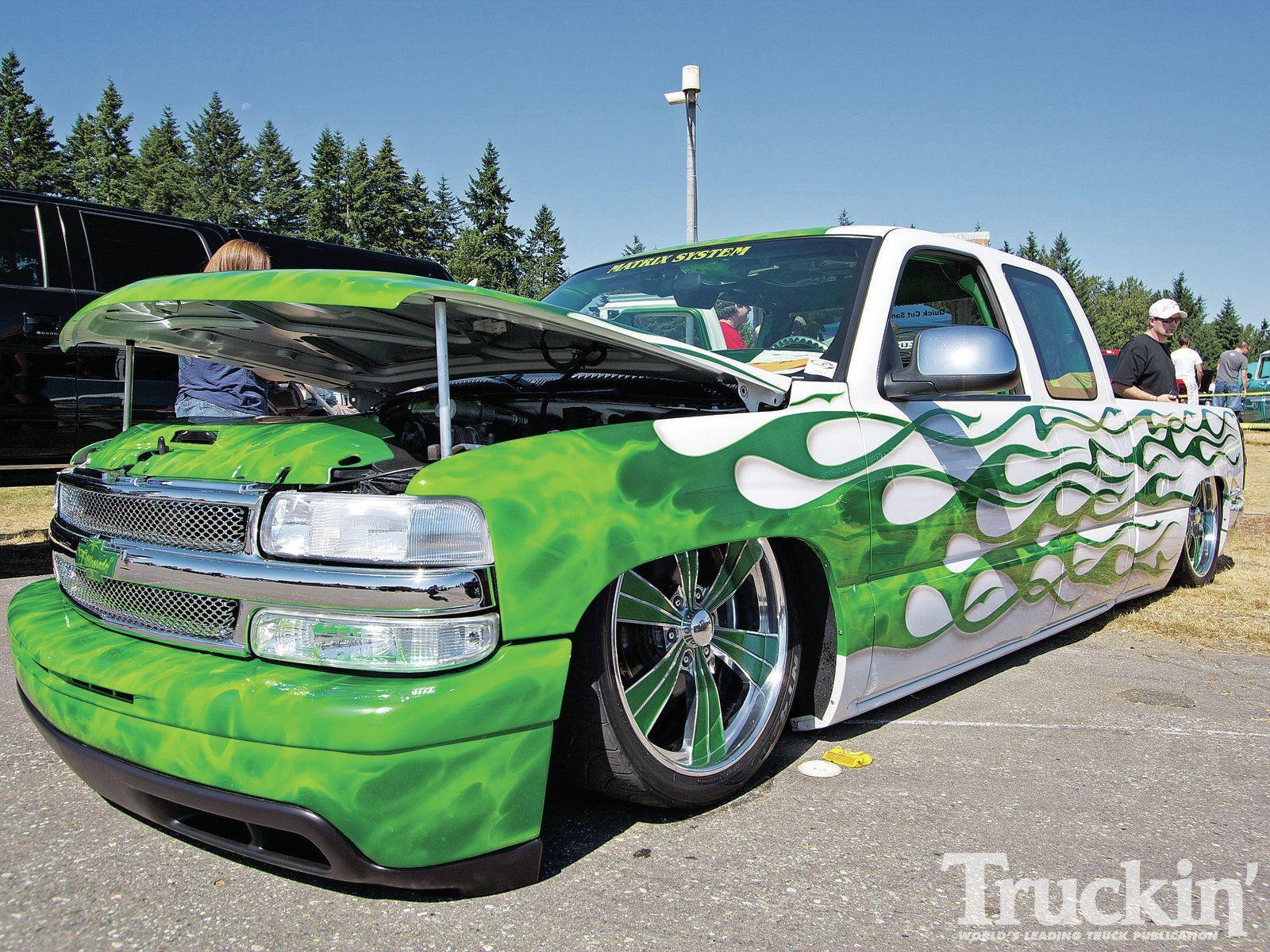 Chevy Silverado Custom Truck Green Flames HD Wallpaper | Custom ...