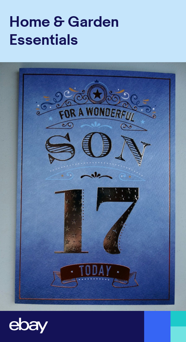 Son 17 17th Have A Amazing Day Stars Bright Word Design Happy Birthday Card Birthday Cards For Son Happy Birthday Son Happy 17th Birthday