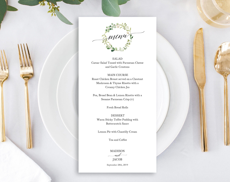 Greenery wedding menu template printable wedding menu