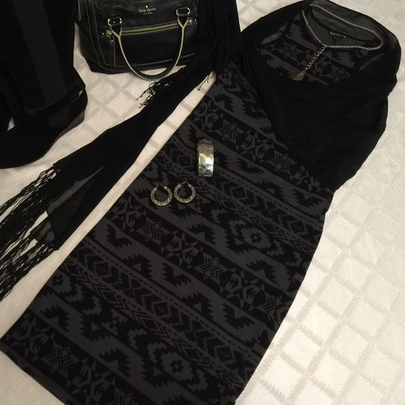 Express tribal print dress black and gray   Express body con yet kind sleeveless dress gray and black print can be paired w/ silky long beaded sheer scarf     Express Dresses Midi