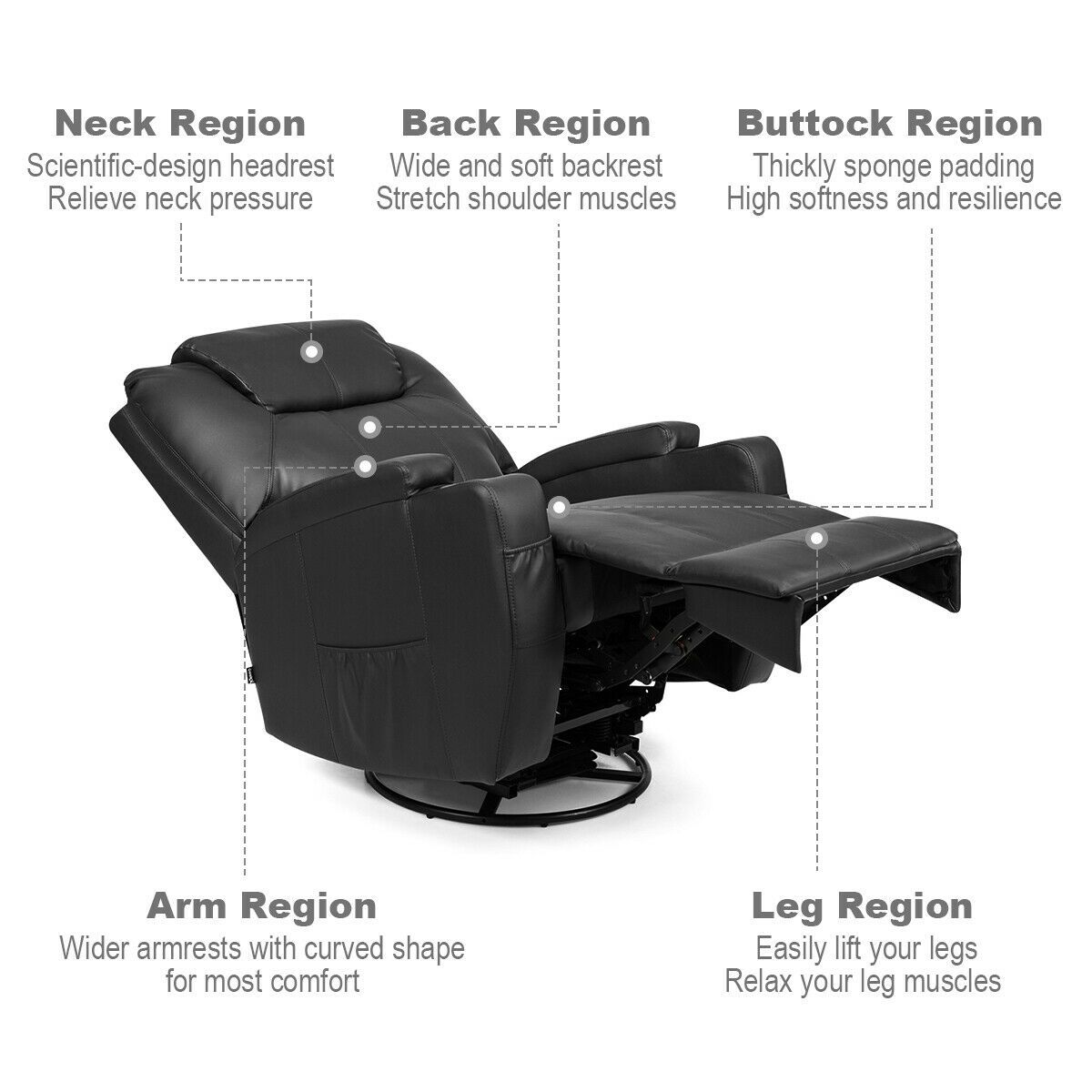 8 heated swivel point massage recliner chairblack in 2020