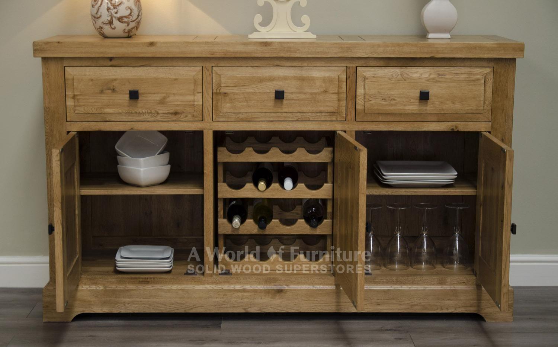 Esszimmermöbel mit lagerung deluxe rustic oak deluxe rustic oak large sideboard with wine rack
