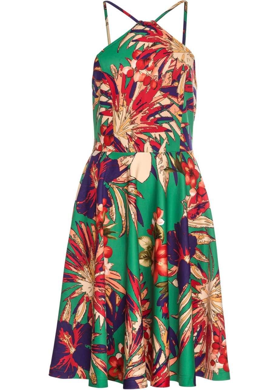 Schönes Blumen-Kleid mit raffinierter Trägerlösung - grün ...