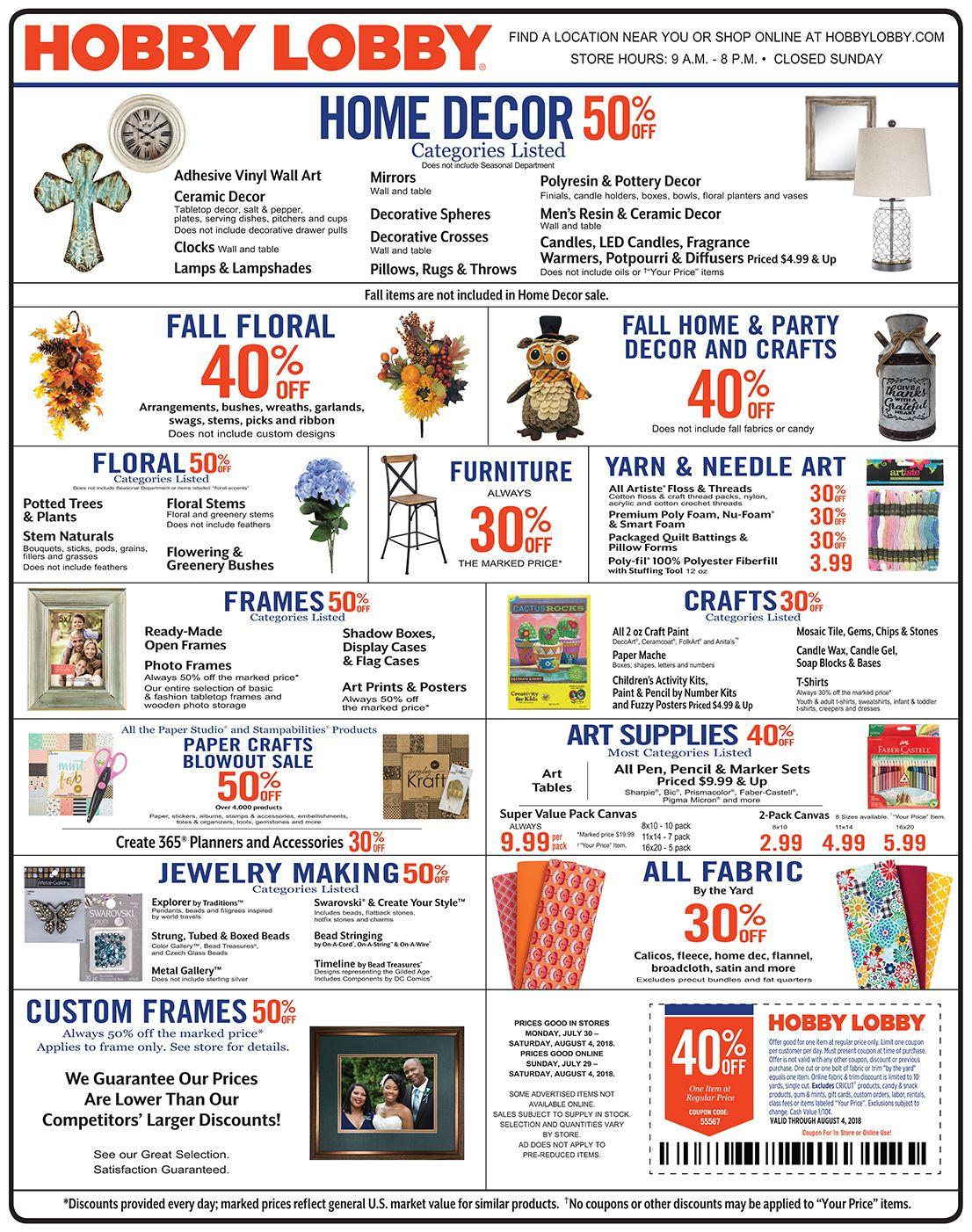 Hobby Lobby Weekly Ad Flyer January 20 - 26, 2019 | Weekly