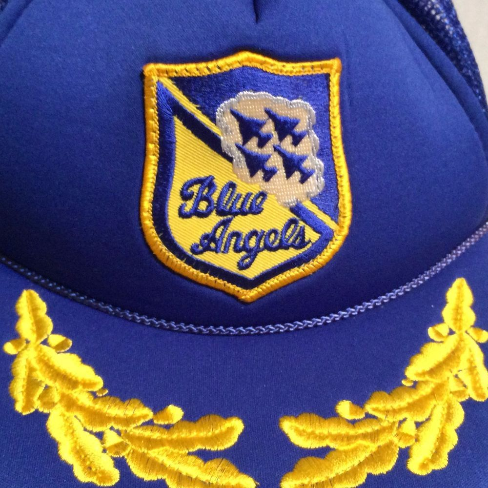 29d2c59790e Vintage Blue Angels Snapback Hat Mesh Foam Gold Scrambled Eggs Aviation   MoMoney  Trucker