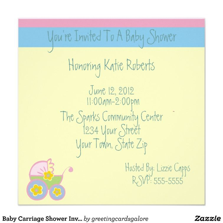 Baby Carriage Shower Invitations | Customized Invitations ...