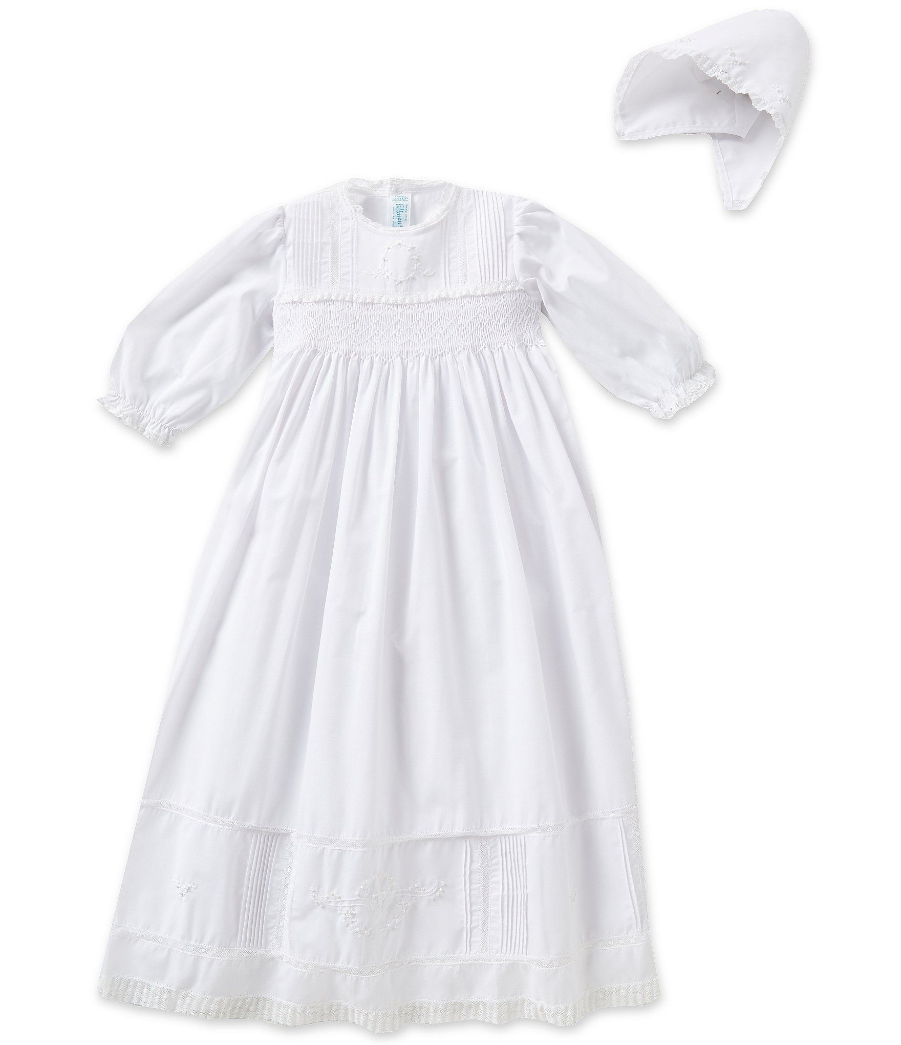 Feltman Brothers Infant Baby Boys White Embroidered Christening Gown Bonnet Set