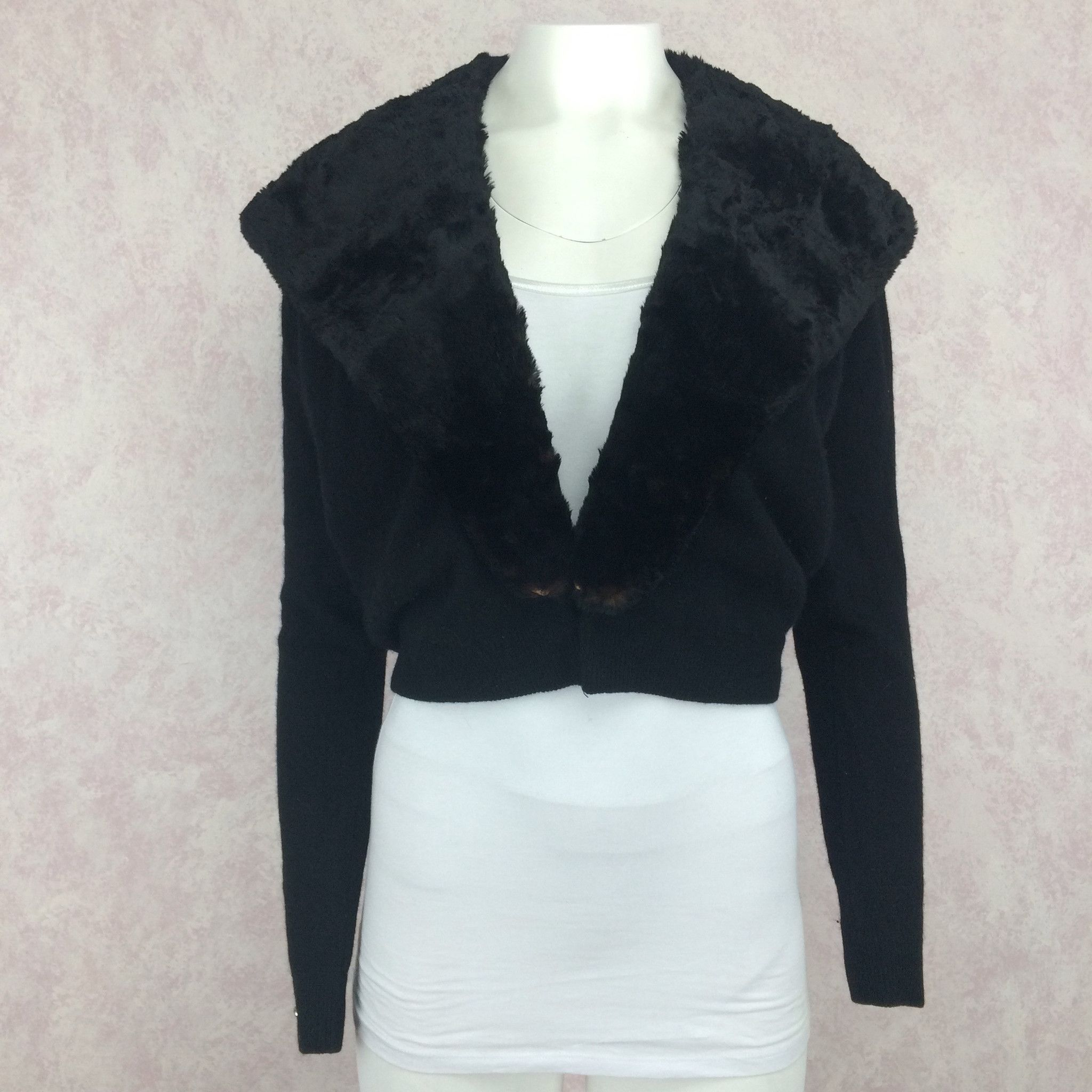 Vintage 50s Black Cropped Cardigan Sweater w/Fur Collar | 50 ...