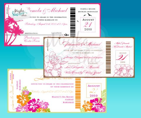 Destination Wedding Invitations Boarding pass Destination