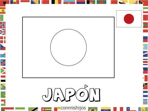 Culturas Del Mundo Para Colorear: Bandera De Japón. Dibujos De Banderas Para Pintar