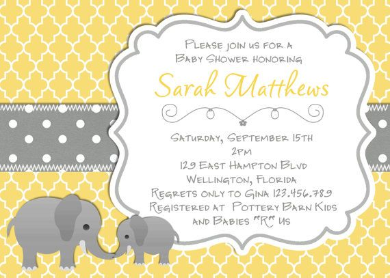 Elephant baby shower invitation yellow gray trefoil elephant baby yellow and gray theme baby shower mod elephant baby shower invitation yellow gray by 3peasprints filmwisefo Choice Image