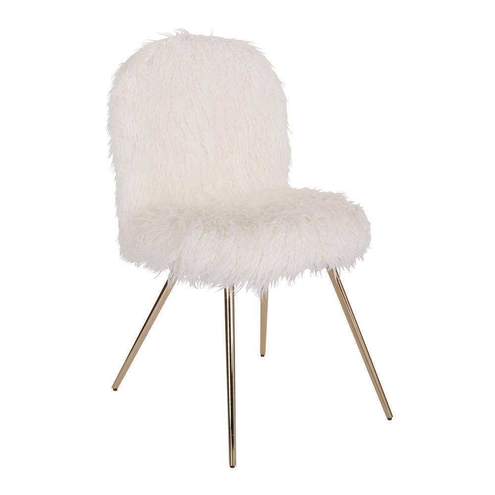 Osp Home Furnishings Julia White Fur Chair With Gold Legs Jla