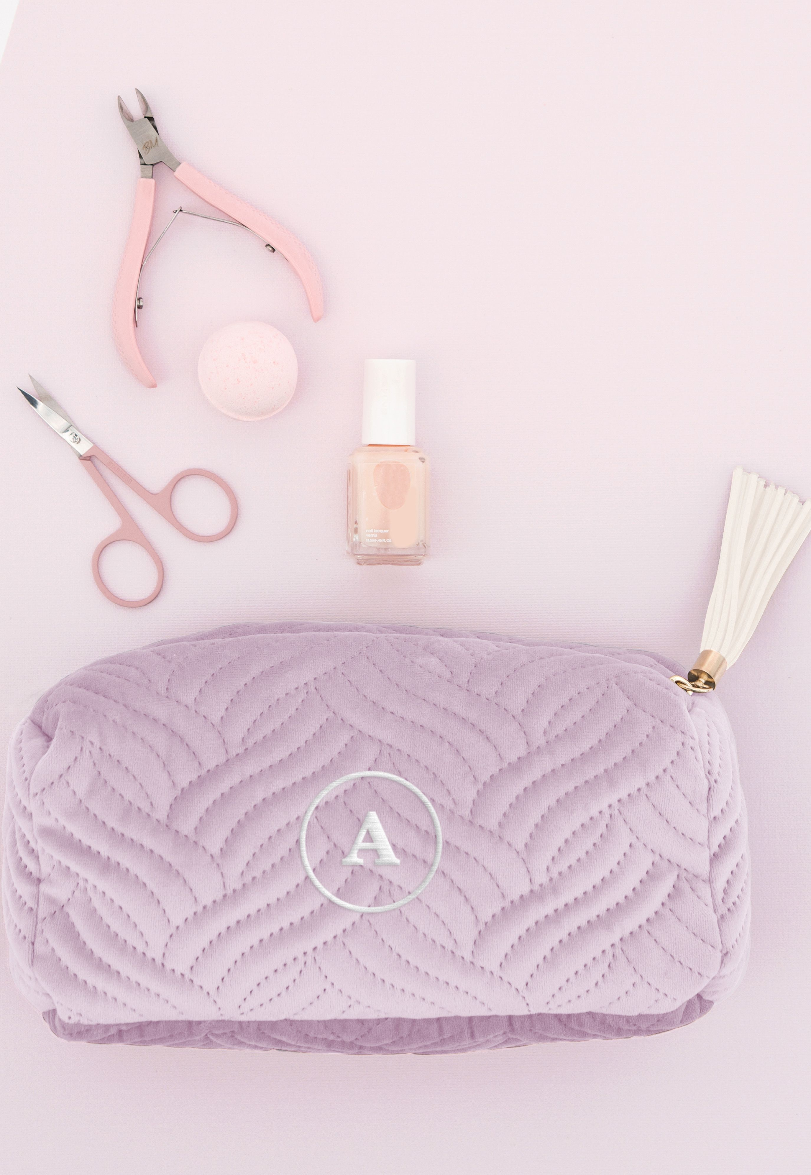 Here is a cute ultra-soft lavender purple personalized velvet makeup bag.  This cosmetic bag with a tassel pull is small enough to toss into your tote  bag or ... 01aa6b1b7f173