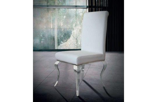 Grande Chaise Baroque En Métal Et Simili Cuir Letizia Blanche