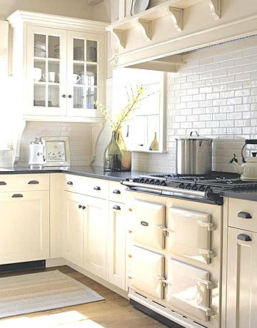 Combine Cream Cabinets And Aga With White Backsplash Home