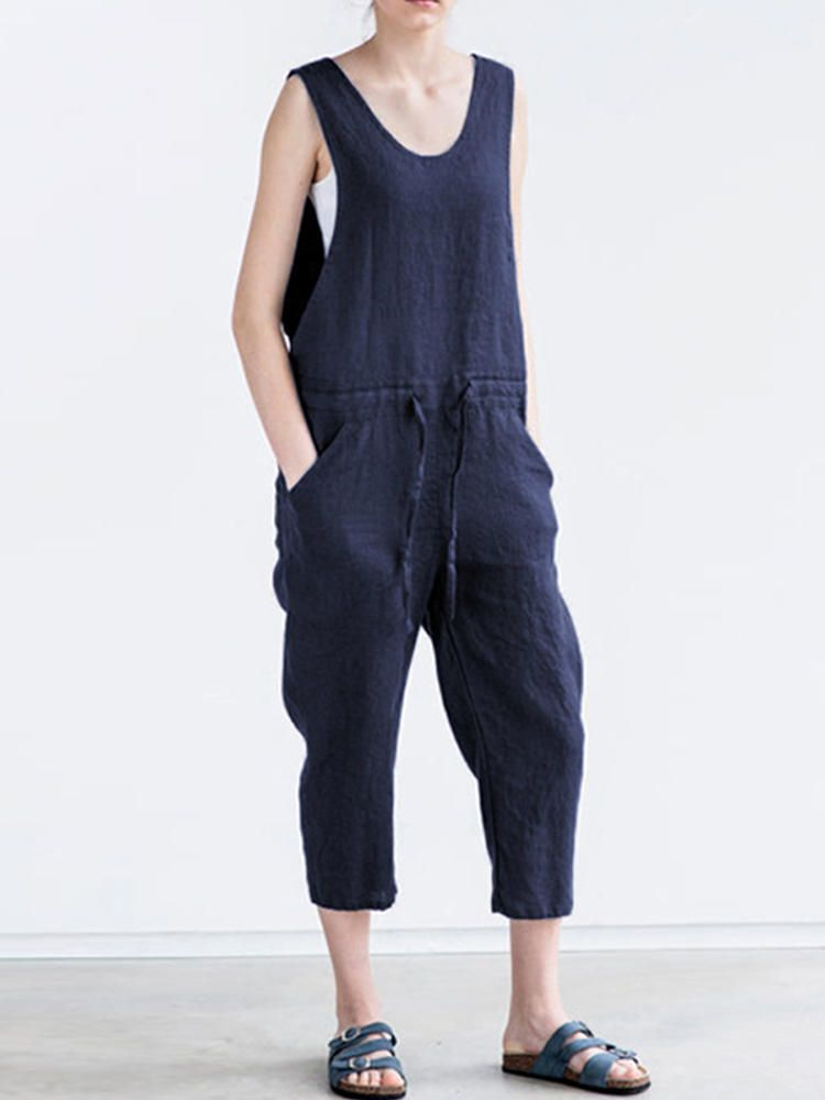 a5851ed37d8 Womens Sleeveless Belted Denim Rompers Solid Jumpsuit - Banggood Mobile