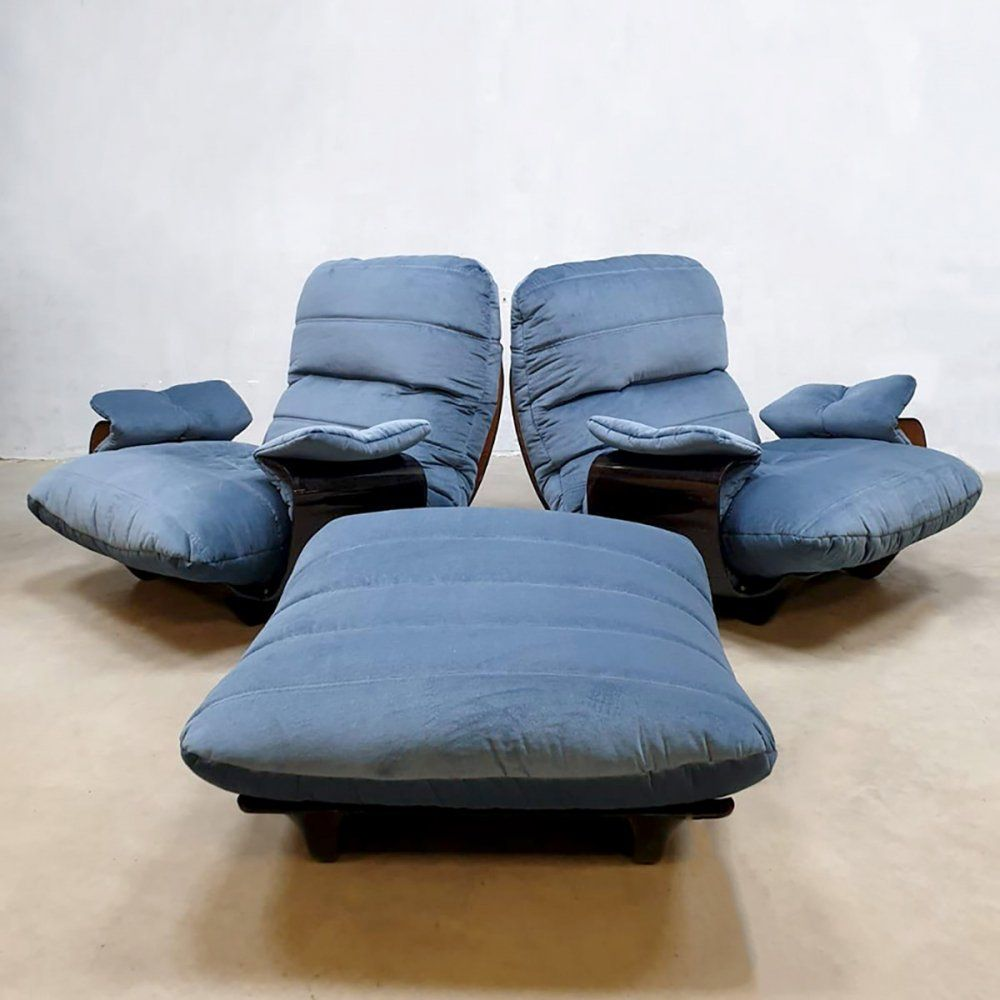 For Sale Set Of 2 Vintage Marsala Lounge Chairs Ottoman By Michel Ducaroy For Ligne Roset Lounge Chair Chair And Ottoman Chair