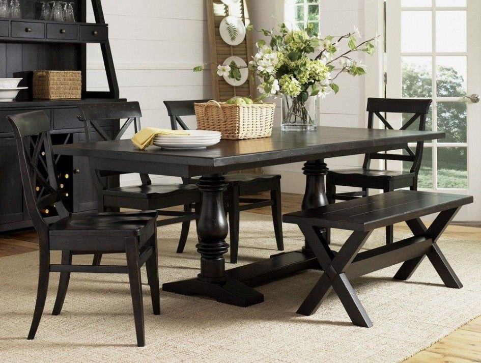 Minimalist Dining Room Set With Bench Rectangle Wood Top
