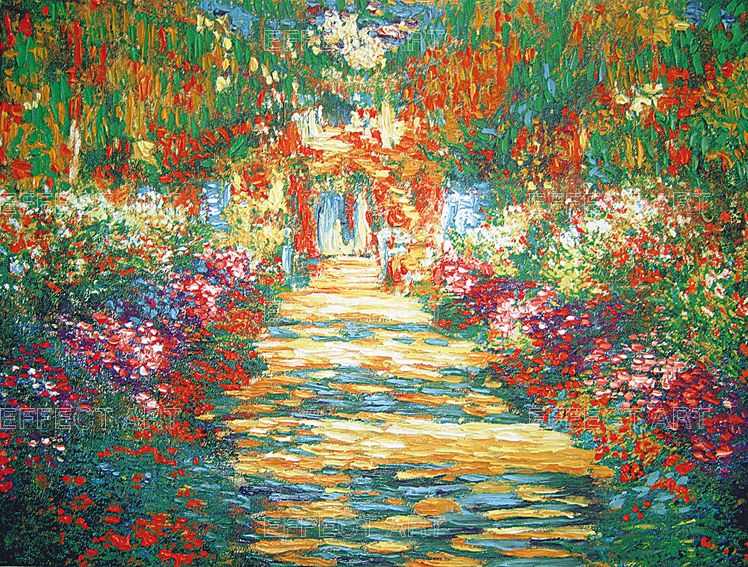 Monet claude 1840 1926 giardino fiorito materica for Giardino fiorito