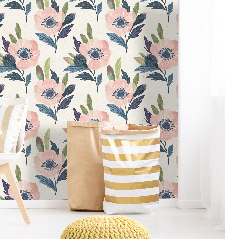 Self Adhesive Wallpaper Pink Watercolor Floral Pattern
