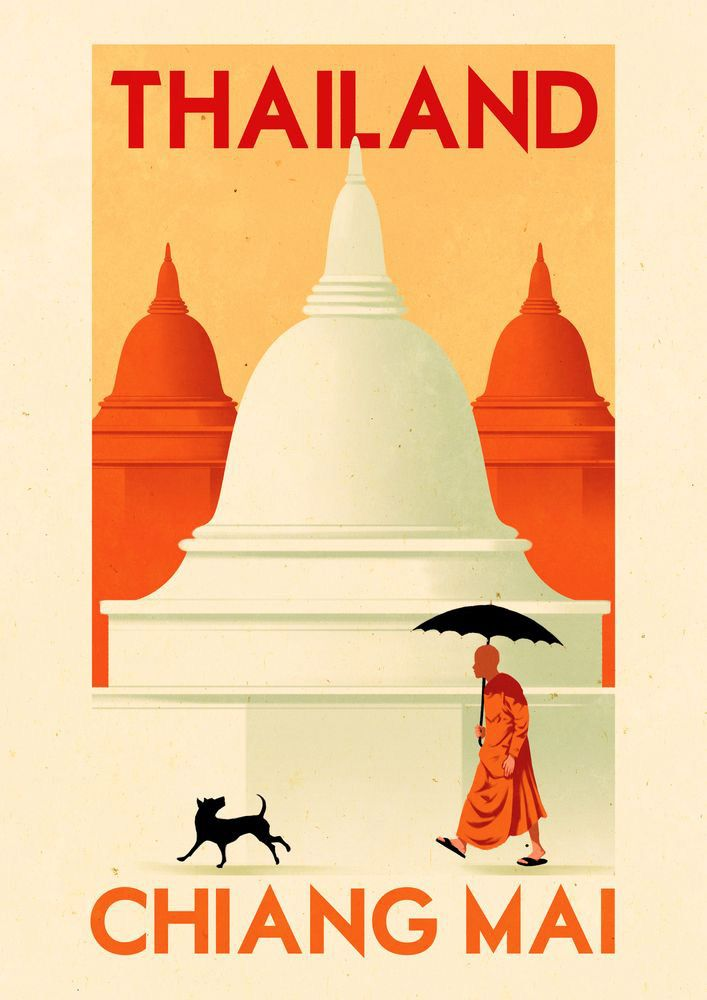 Thailand http://www.folioart.co.uk/images/uploads/RuiRicardo-Folio-Illustration-Agency-Retro-Vintage-Graphic-Digital-Travel-Advertising-chiangmail-l.jpg
