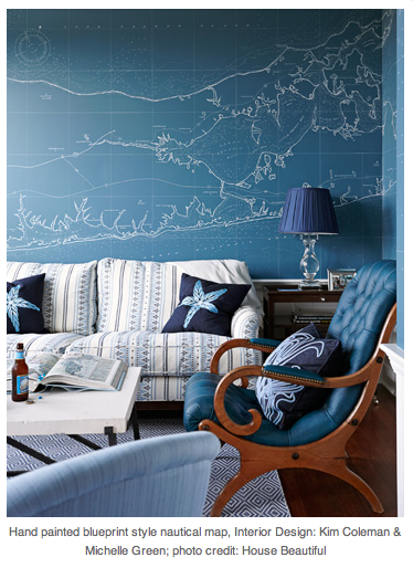 Blueprint Interior Design Painting hand painted blueprint style nautical map. | walls. | pinterest