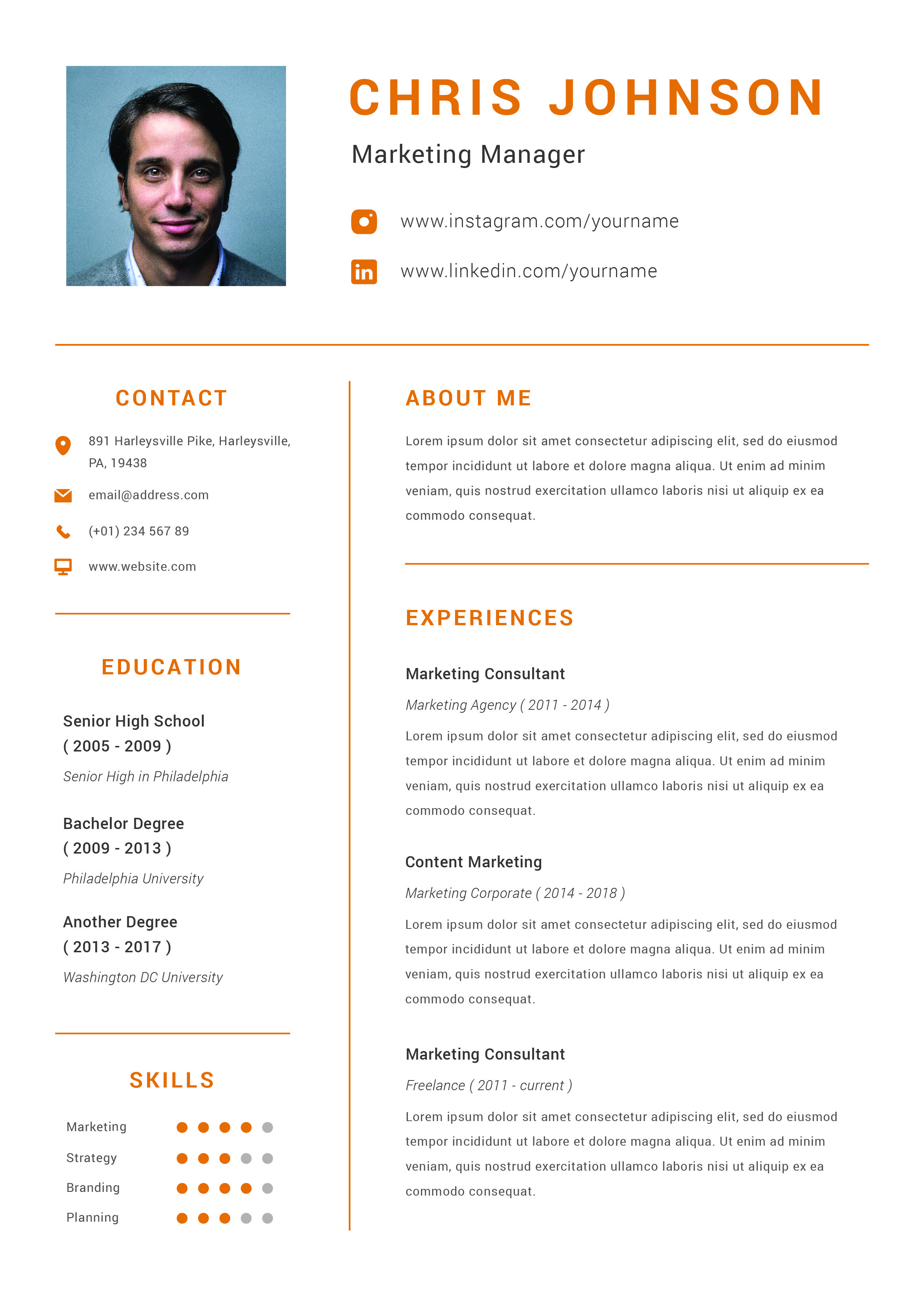 Cv Resume Vol 2 By Deemakdaksinas On Envato Elements Resume Cover Letter For Resume Curriculum Vitae Design