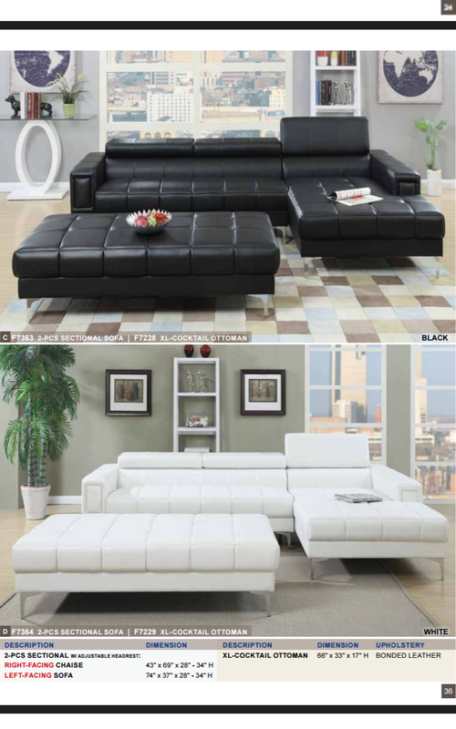 Modern Sectional With Oversized Ottoman In Black Or White 765 Furn Guy Www Thefurnitureguy Org Tufted Couch Living Room Tufted Couch Chaise Sofa